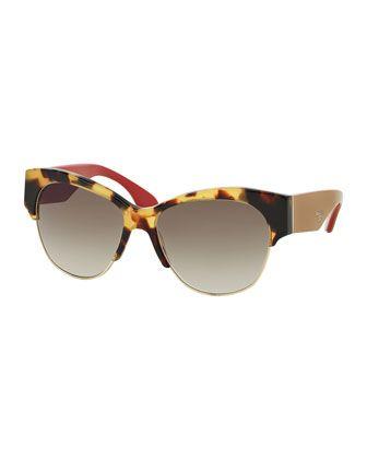 d7985ad87fac Semi Rimless Cat-Eye Sunglasses, Havana by Prada at Neiman Marcus.
