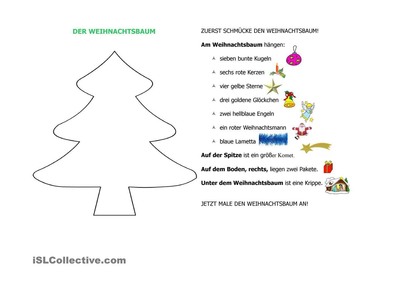 DER WEIHNACHTSBAUM | Weihnachtsbäume, Arbeitsblätter und Schule
