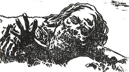 Lino cut promo for Walking Dead set released by Altar of Waste