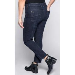 Große Größen: Schmale Cargo Stretch-Jeans mit Krempelfunktion, dark blue Denim, Gr.52 Sheego