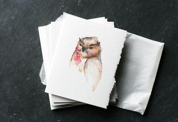 Set 6 gufo dolce SERENDIPITY carte e buste vuoto di reneeanne