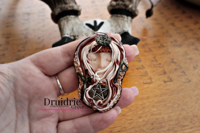 Celtic Viking Rune Goddess Pendant Wunjo Rune Berkano