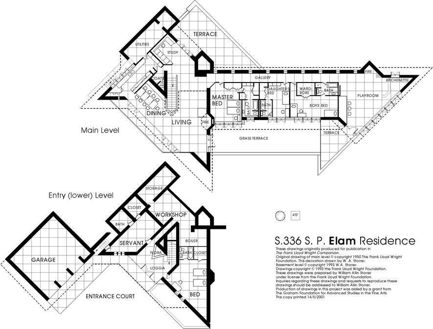 Plan The Elam House 1951 Austin City Minnesota Usonian Style One Of Th Frank Lloyd Wright Buildings Frank Lloyd Wright Design Frank Lloyd Wright Usonian