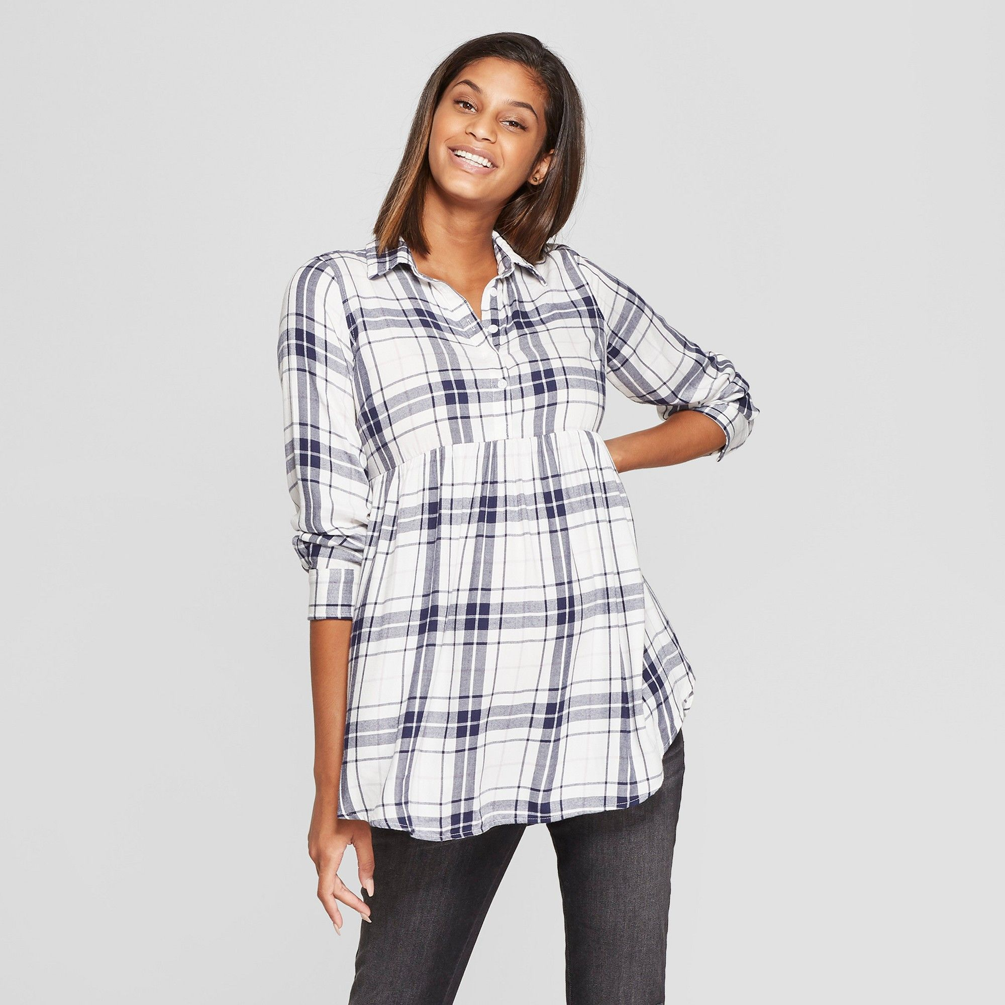 22dcb409cc2cc Maternity Plaid Flannel Peplum Hem Shirt - Isabel Maternity by Ingrid &  Isabel White XL. Maternity Long Sleeve ...