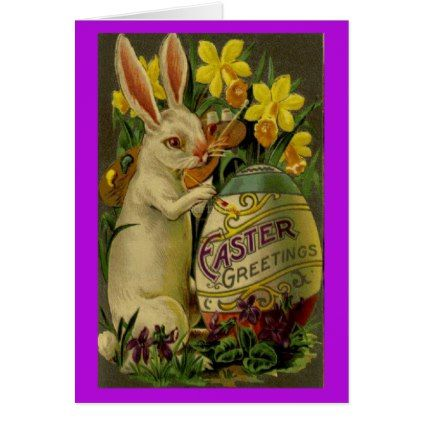 Bunny Rabbit With Egg Easter Greetings Card  Easter Greeting Cards