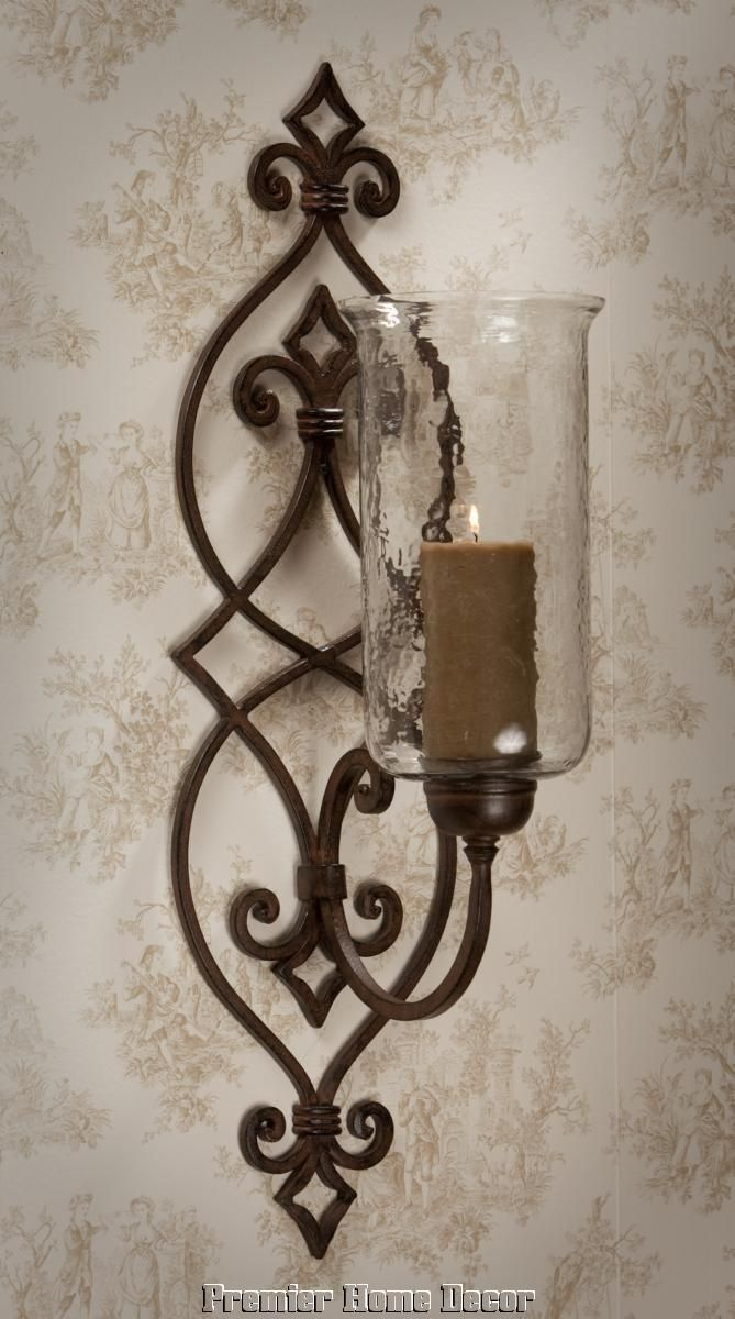 Living room sconce these would be pretty somewhere in the house bronze iron scroll candle sconce with hammered globe amipublicfo Choice Image