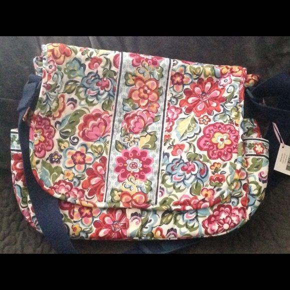 Vera Bradley Messenger bag hope garden NWT VB messenger bag hope garden smoke and pet free home Vera Bradley Bags Crossbody Bags