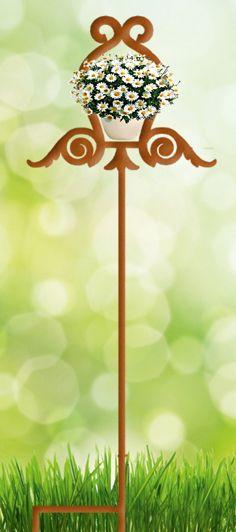 blumentopfhalter selber bauen, pflanzenstab kunstvoll aus edelrost mit blumentopf halter / schweres, Design ideen
