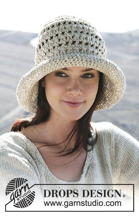"To the Sun / DROPS 107-14 - Crochet DROPS hat in ""Cotton Viscose ..."