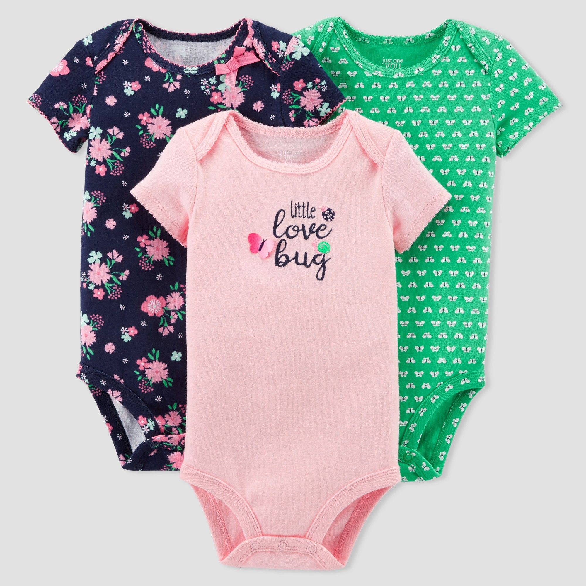 6f9f5a26f622 Baby Girls  3pk Floral Love Bug Bodysuit Set - Just One You Made by ...