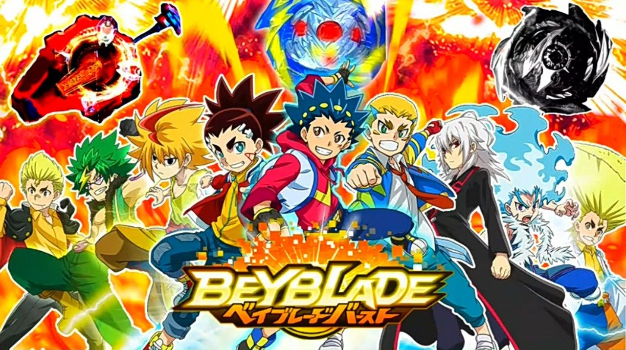 This Poster Shows 9 Characters From The 4 Seasons Of Beyblade Burst That Will Appear In Season 5 Which Is Called Beybl Beyblade Burst Beyblade Characters Anime