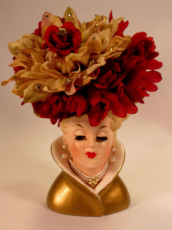 Pretty napco lady head vase with pearl earrings choker and flower pretty napco lady head vase with pearl earrings choker and flower hat the necklace reviewsmspy