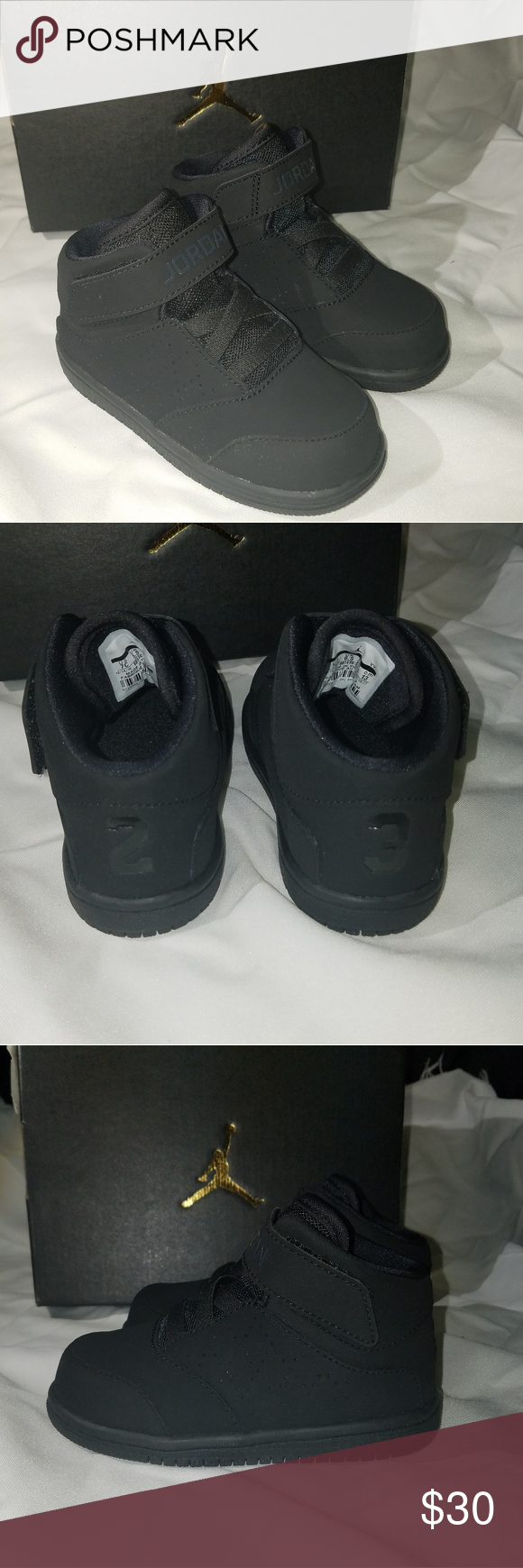 3a8a7568b9c Nike Air Jordan 1 Flight (TD) PS New all black toddler Jordan high top  sneakers with elastic bands shoe strings with strap very simple design easy  to clean ...