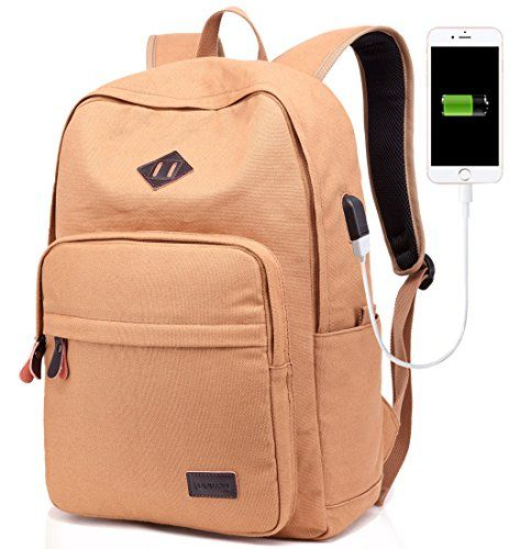 7546f0781ebe New ZAKOO Backpack For Men Women Girls Boys With USB Charging Port Vintage  Canvas Bag for Laptop Travel Business College Book Bag (Brown) online.