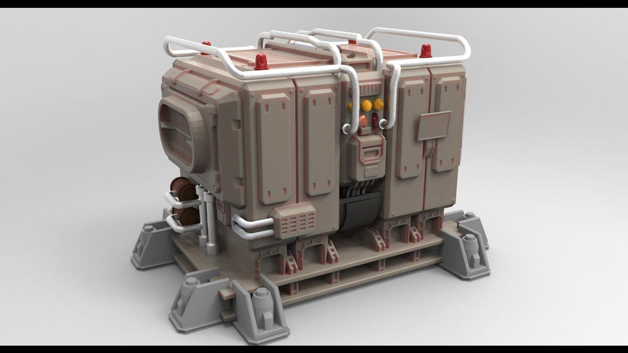 Zbrush modeling sci-fi game Server Generator 3d