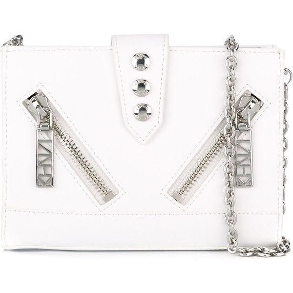 Kenzo Kalifornia Chain Wallet (350 CAD) ❤ liked on Polyvore featuring bags, wallets, white, white wallet, snap closure wallet, white bags, chain wallet and kenzo