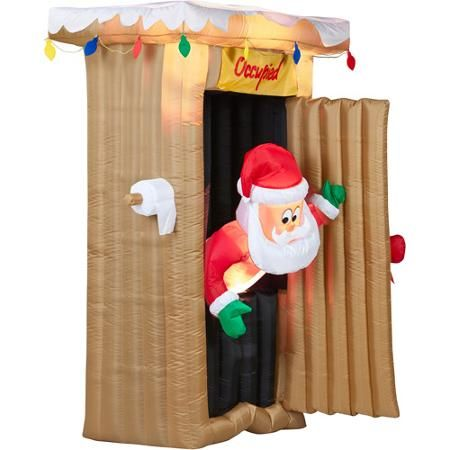 6u0027 Tall Animated Airblown Christmas Inflatable Santa Coming Out Of Outhouse  Scene
