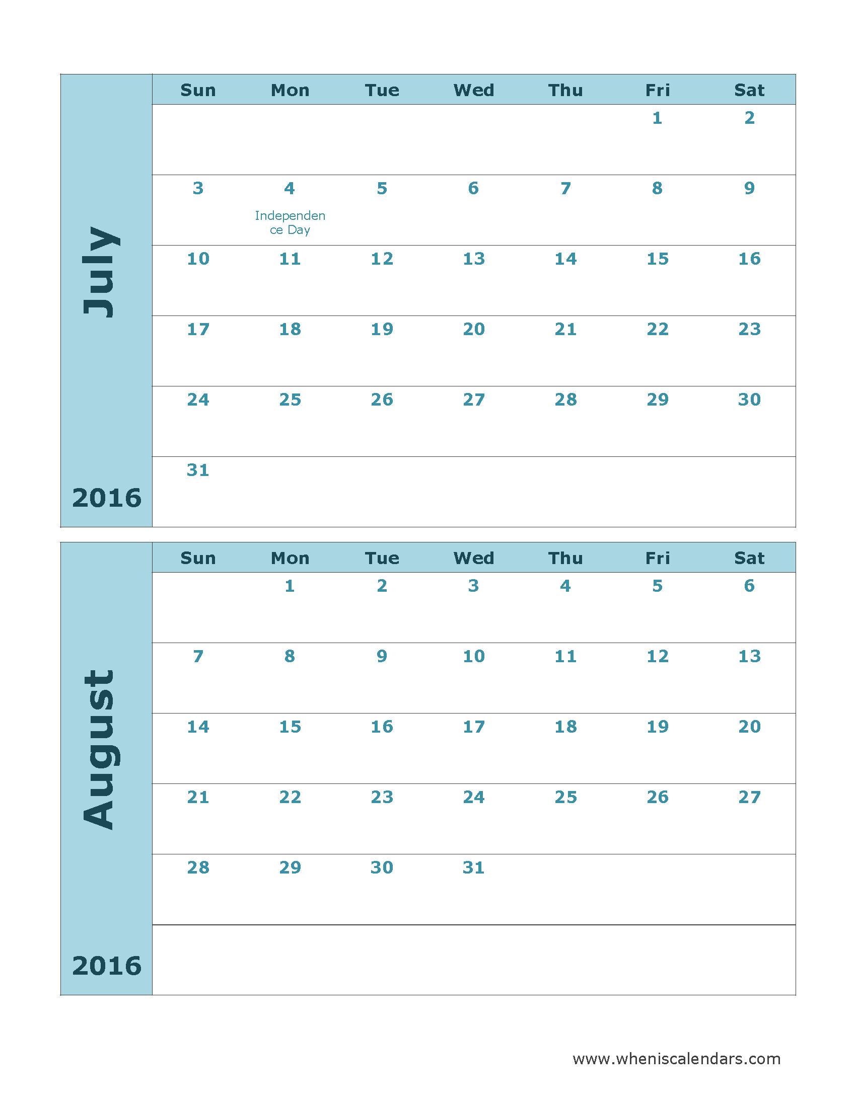 July August Calendar