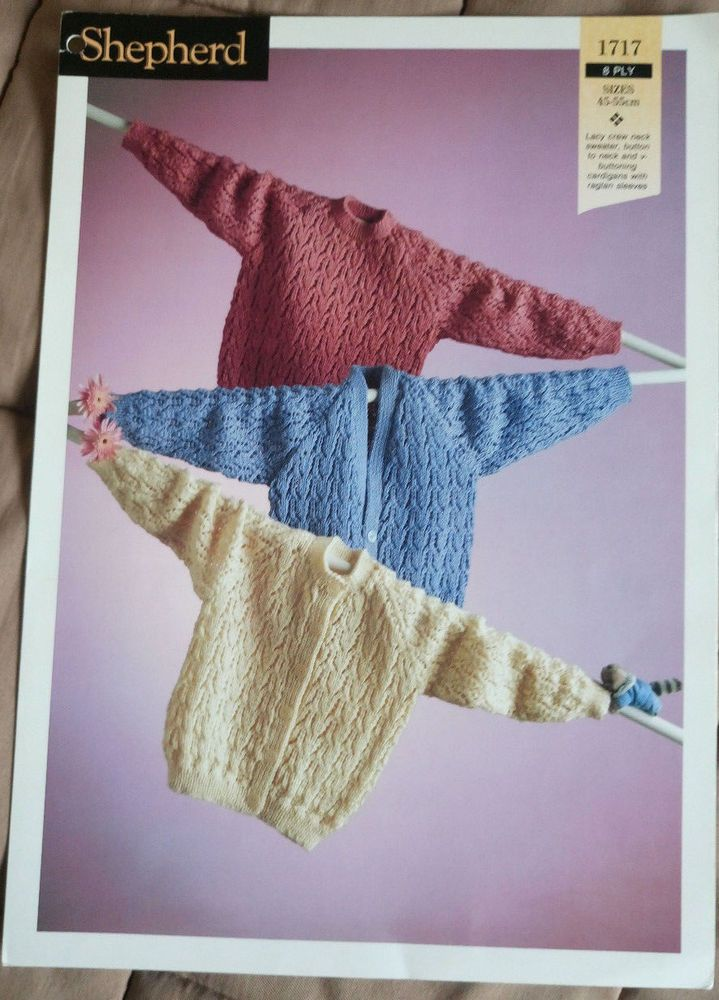 Baby/Toddler Lacy Cardigans & Sweater knitting pattern 8 ply DK yarn ...