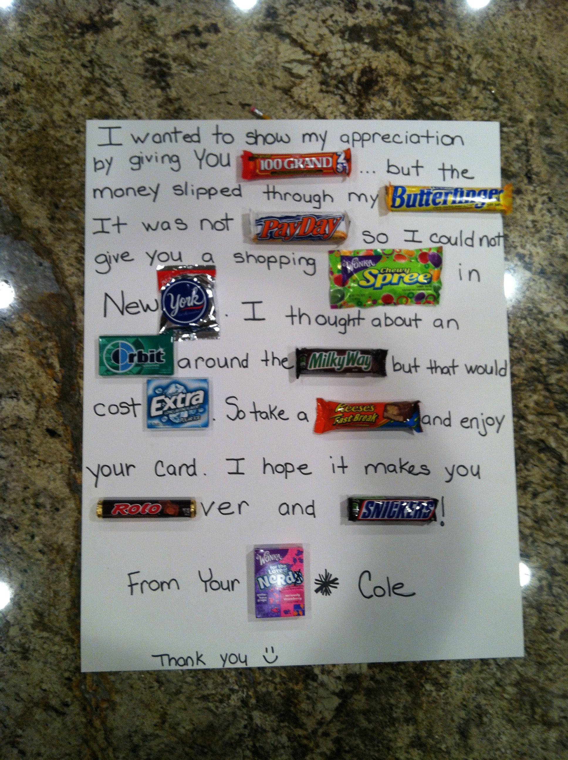 Teacher Appreciation Week At School Candy Bar Thank You Card