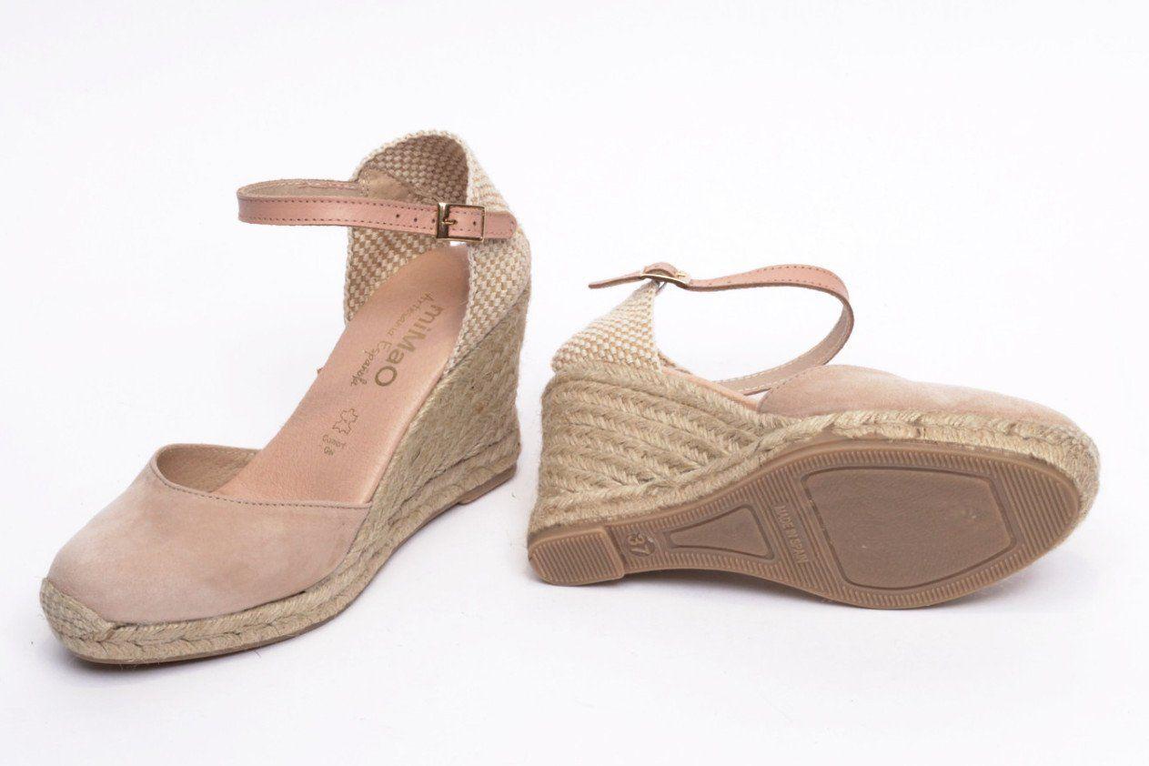57d85001c18 miMaO Esparto Nude – Sandalias mujer tacón cuña cómodo color nude  nmaquillajepiel ante - Comfort women s sandals heel wedge espadrilles  makeup pink make up ...