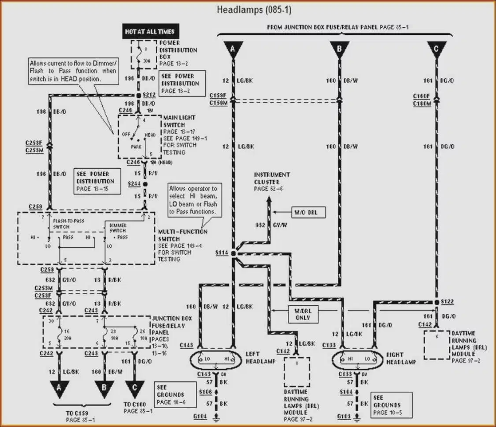 98 dodge ram headlight switch diagram