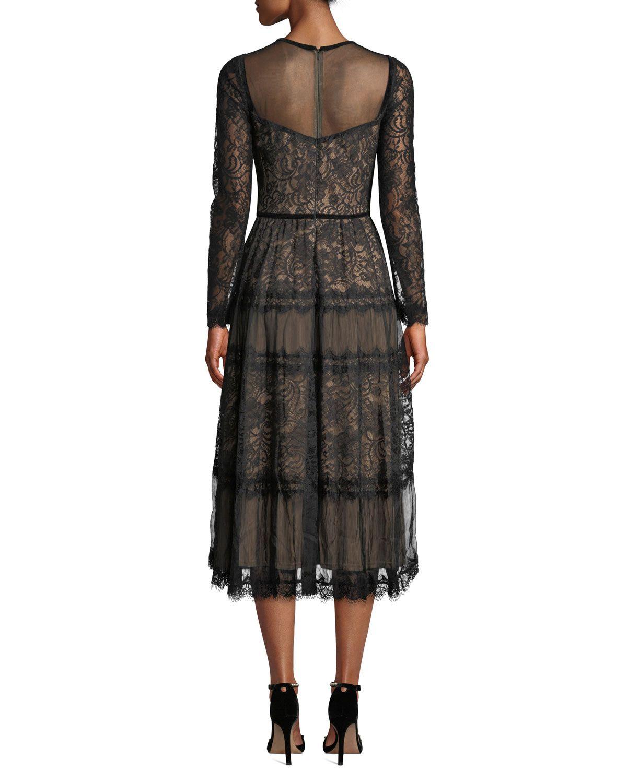 Tadashi Shoji Long Sleeve Lace Chiffon Dress Chiffon Lace Dress Long Sleeve Lace Chiffon Dress [ 1500 x 1200 Pixel ]