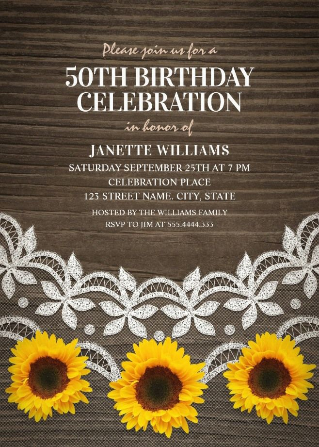 Country Lace Sunflower 50th Birthday Invitations - Rustic Wood ...