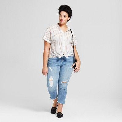 f7945092d45 Women s Plus Size Striped Short Sleeve Button Down Shirt - Universal Thread  Cream 1X
