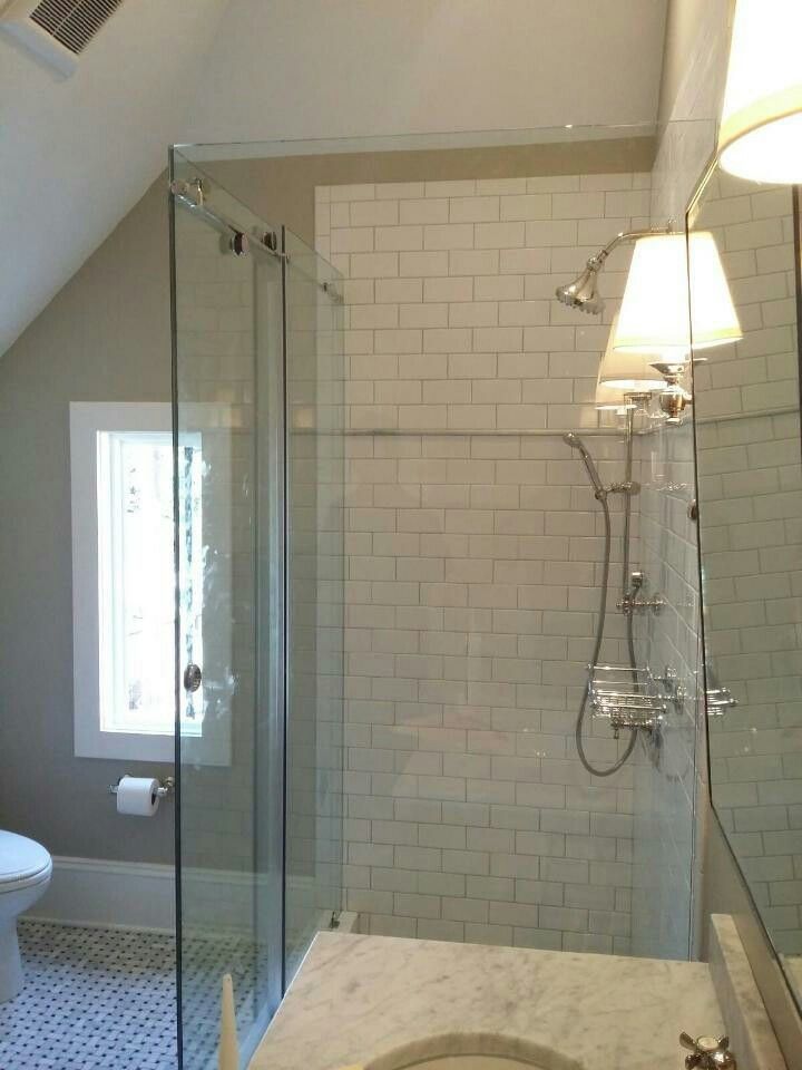 Barndoor Slider Brittandtilson Glass Asheville Bathroom Remodel - Asheville bathroom remodeling