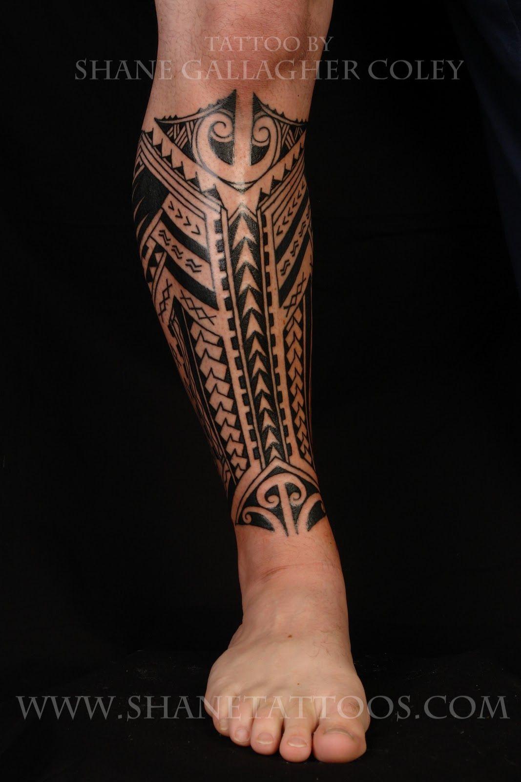 Lower leg guys traditional sleeve tattoos - Koru Tattoo Polynesian Samoan Calf Haha So Sick