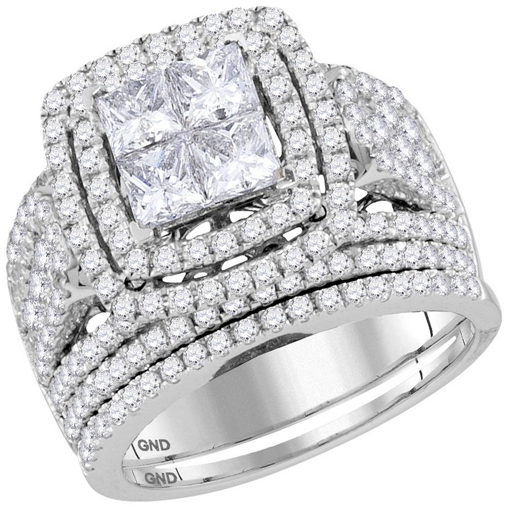 14kt White Gold Womens Princess Diamond Cluster Halo