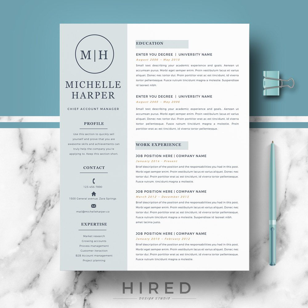 professional  u0026 modern resume template for word  michelle - 100  editable