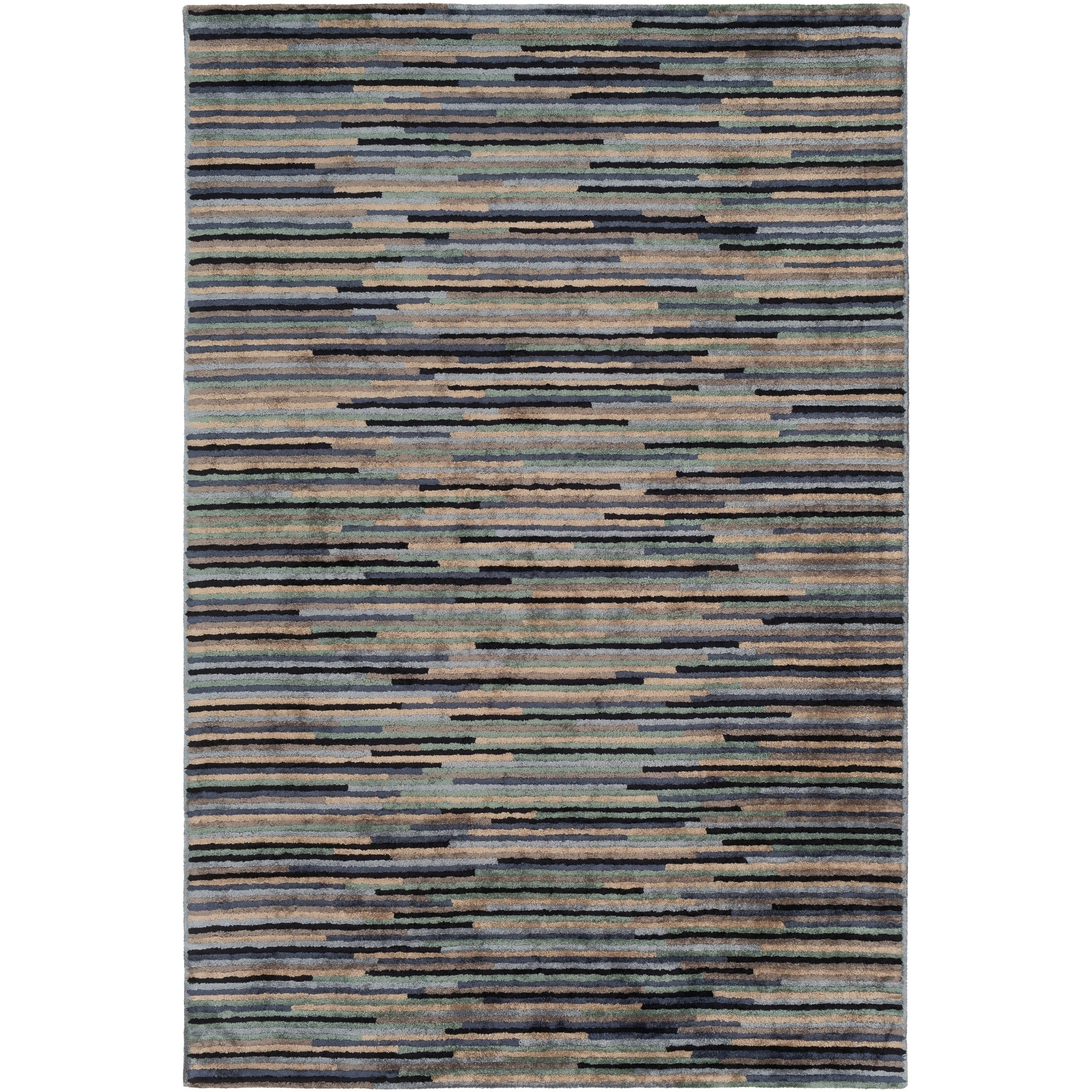 Ravindra Modern Area Rug Cream 9 X 13 Blue Viscose Stripe