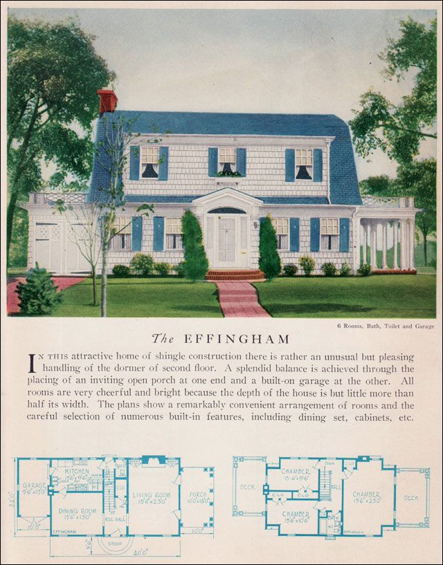 The 1929 Effingham Dutch Colonial Revival Attached Garage Home Builders Catalog Vintage Home Ar Dutch Colonial Homes Vintage House Plans Dutch Colonial