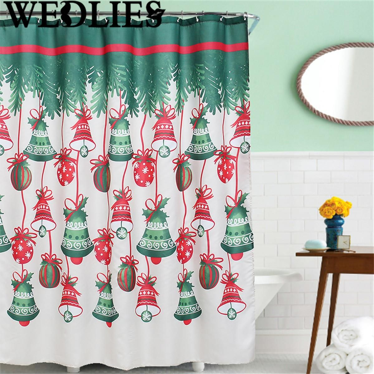 Polyester Christmas Bells Waterproof Shower Curtain Bath Shower Screen  Cover Household Bathroom Decorative Crafts Accessories