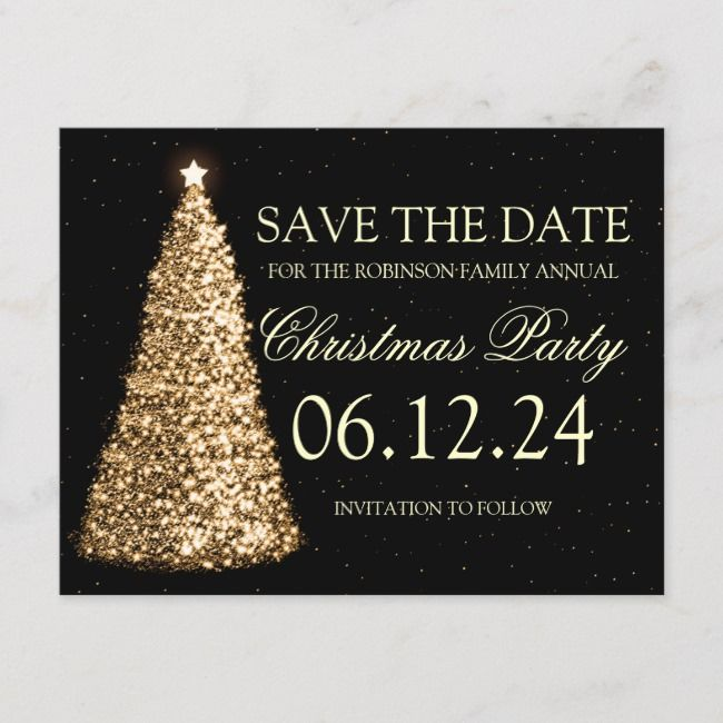 Elegant Christmas Party Save The Date Gold Black Announcement Postcard    Elegant Christmas Party Save The Date Gold Black Announcement Postcard