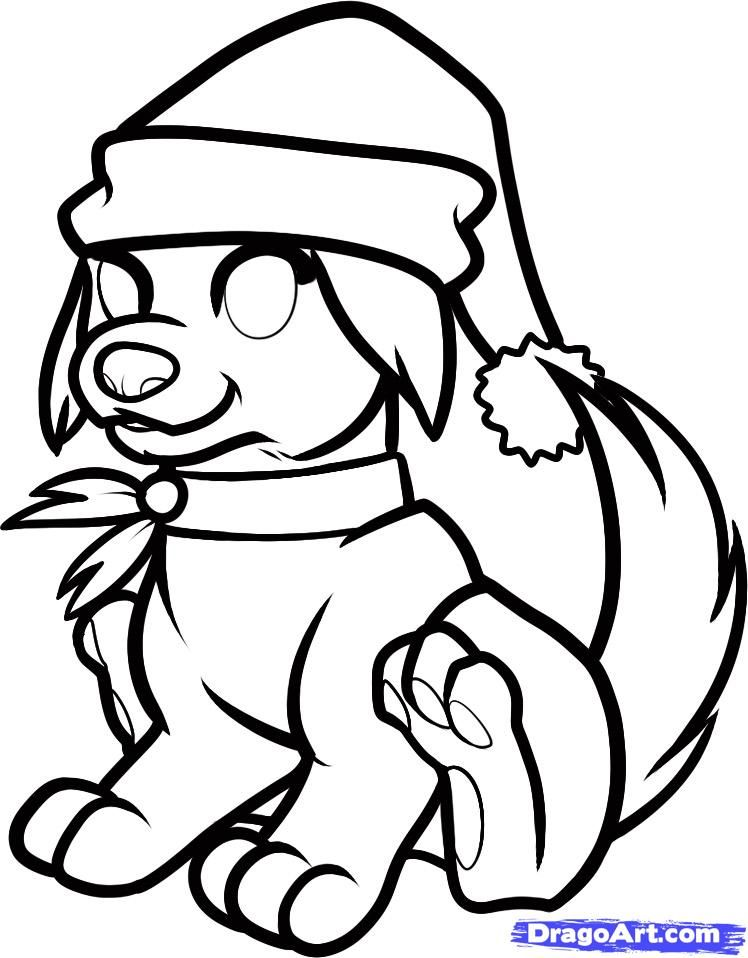 Christmas Drawings Step By Step Christmas dog step 8 | District ...