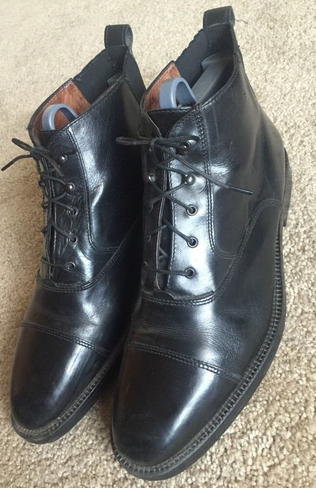 Carlo Morandi Men S High Top Leather Vintage Oxfords Euc Size 12 Made In Italy Dress Shoes Men Leather Oxfords Mens High Tops