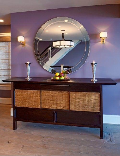 console, mirror, sconces, wall color