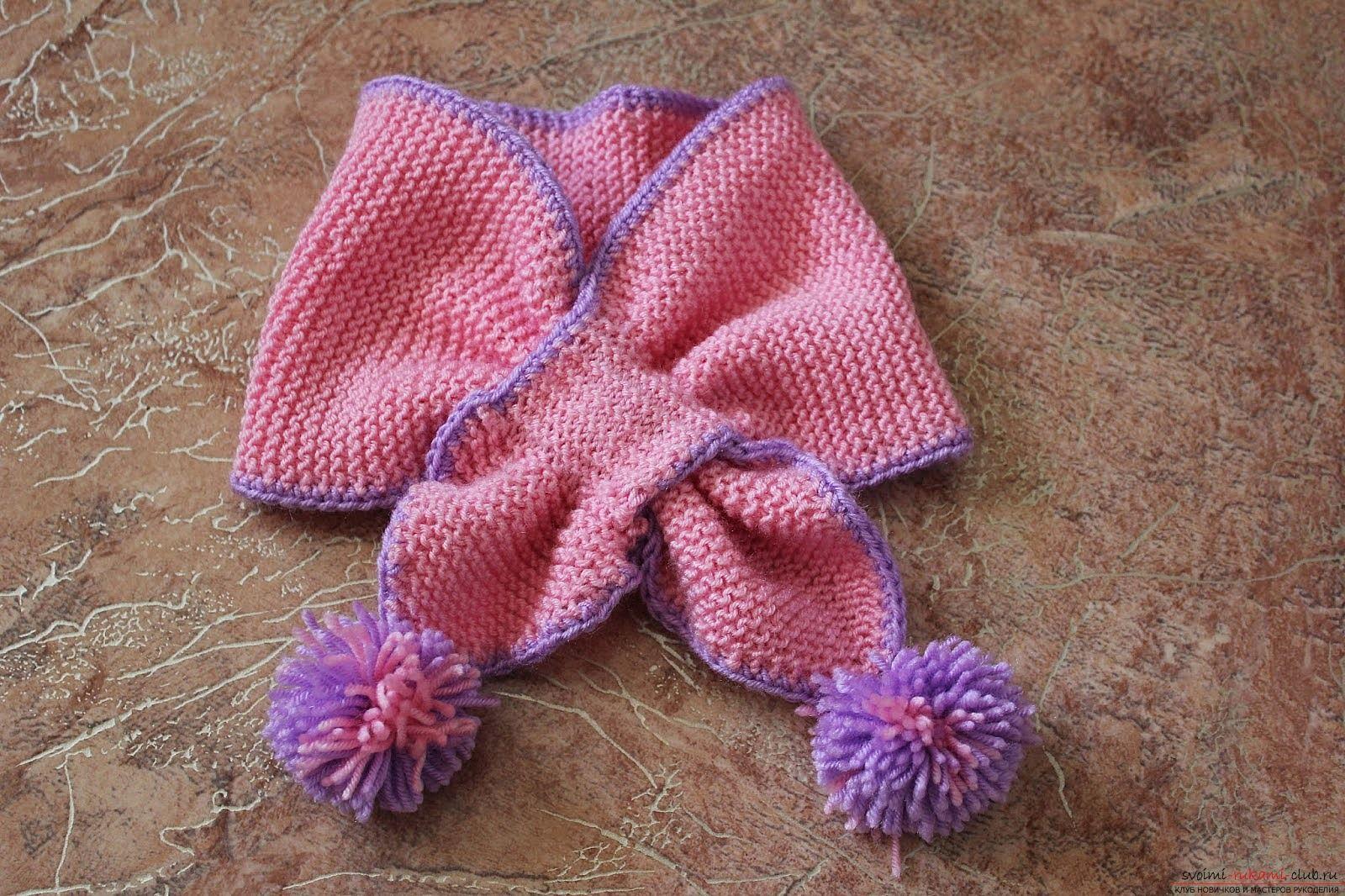 20 моделей детских шарфов спицами бесплатно с описанием 60