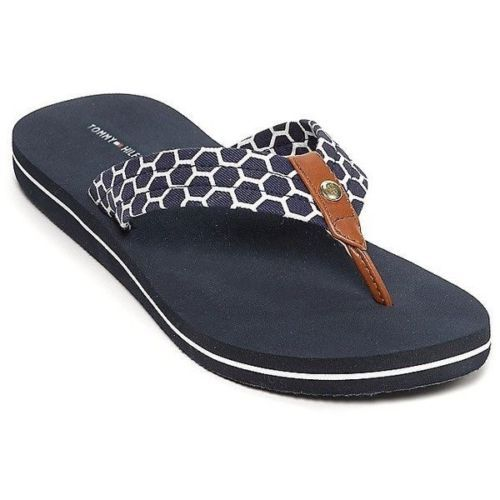 55a41d766 Tommy-Hilfiger-Sandals-White-Navy-Blue-Leather-Gold-Honeycomb-Print-Cargo-X
