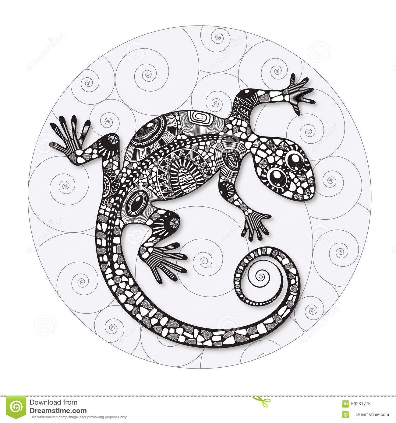 Zentangle Stylized Drawing Of A Lizard Illustratie Dieren Tekenen