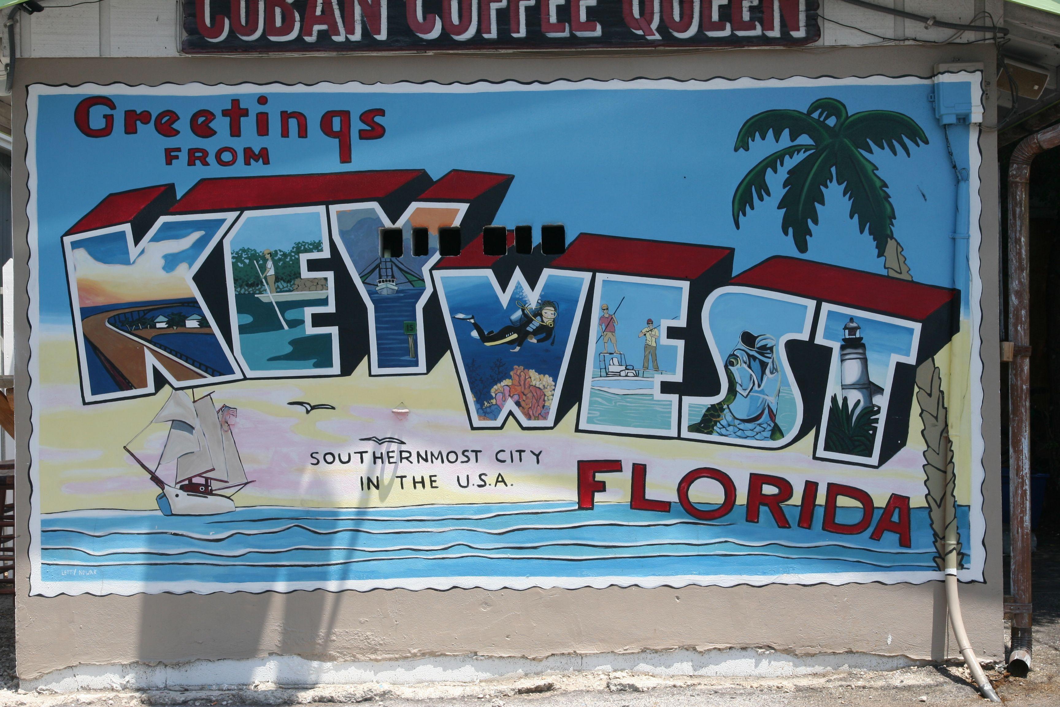 Key West Mural On Building Side Key West Mural Street Art