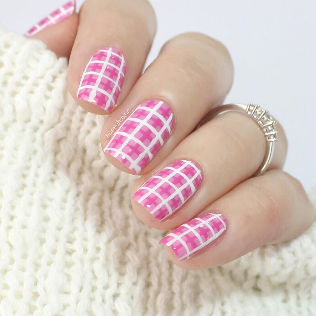2017 Pink Valentines Day Nail Art Ideas Design Pink And White Checker Checkered Nails Valentine S Day Nails Nails