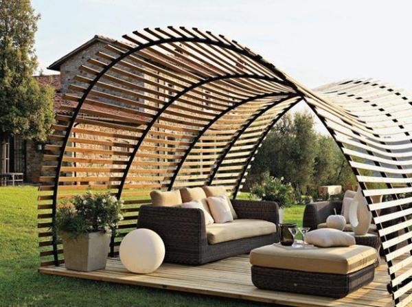 Dome  This option can be made in numerous different ways, but it's still a great idea for blocking out the annoying sun! Build it up and around your patio and make it out of whatever material you want. Just make sure it's sturdy enough to not collapse on you and your guests!