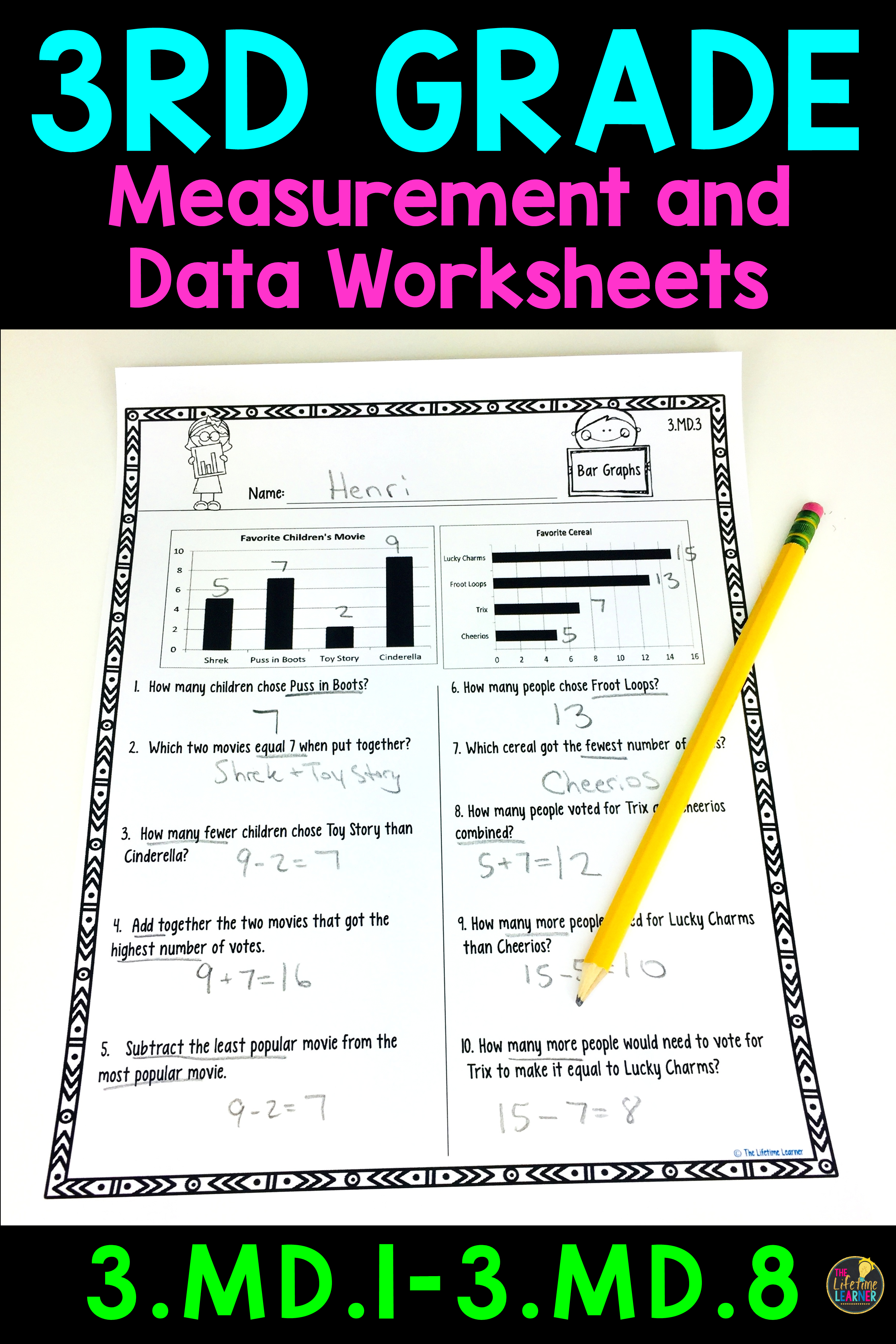 hight resolution of 3rd Grade Measurement and Data Worksheets   Measurement worksheets