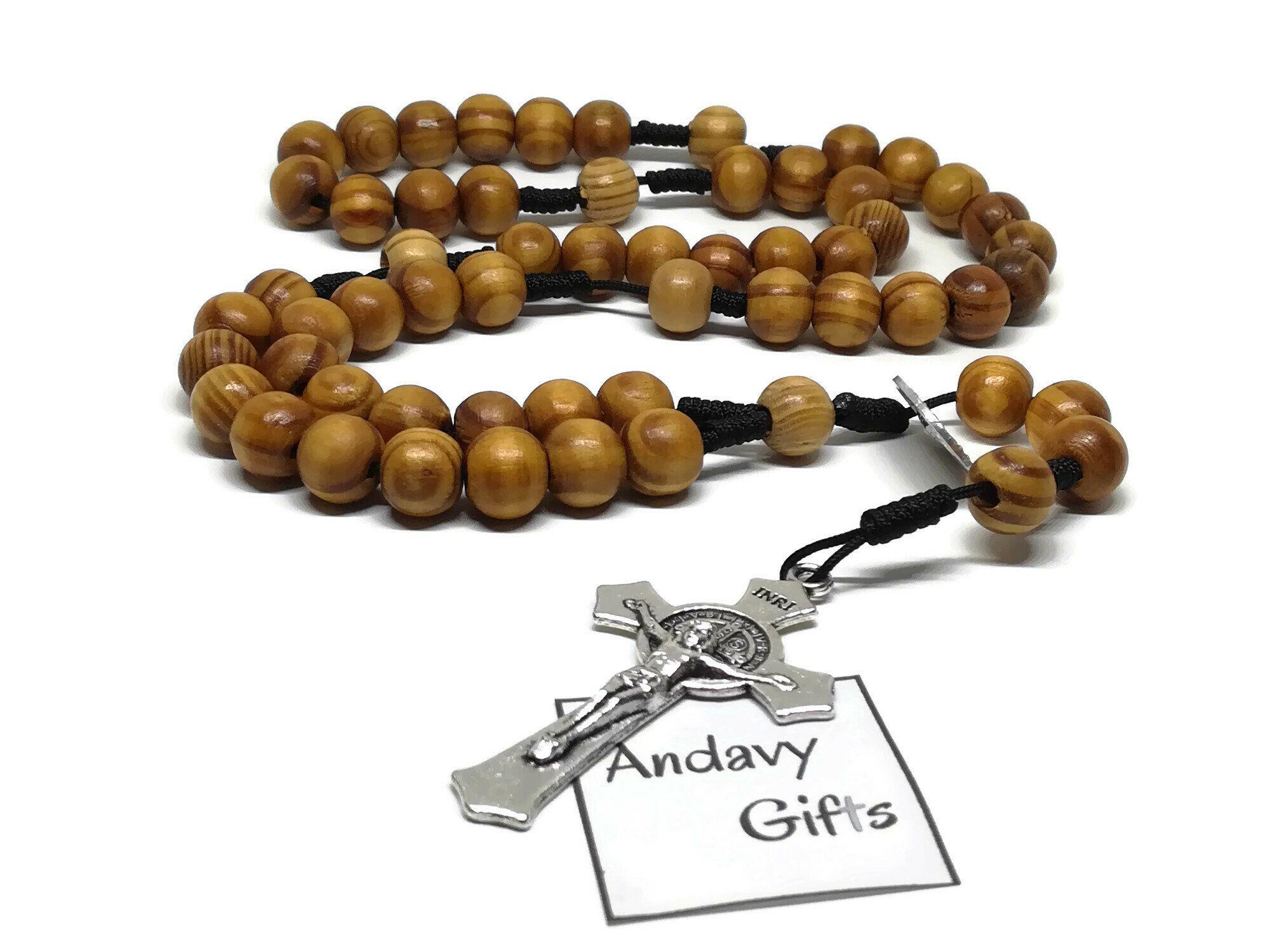 Handmade catholic wooden st benedict crucifix rosary