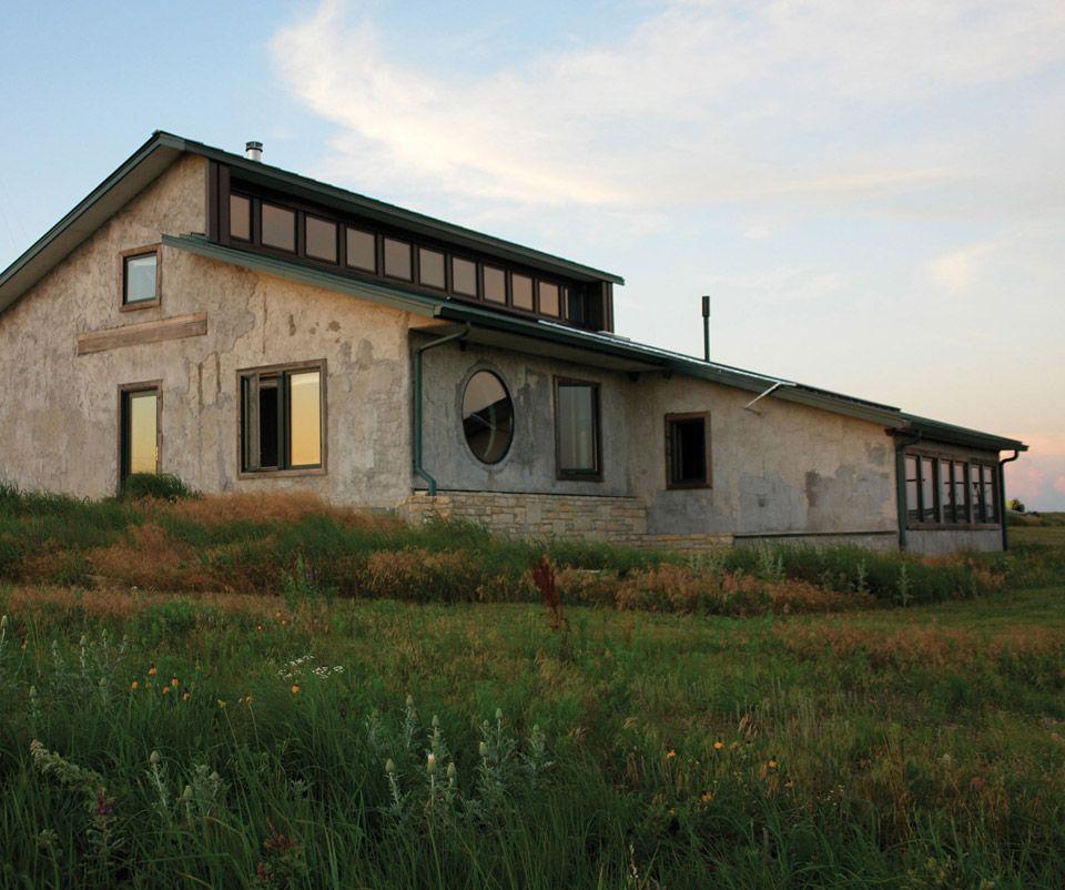hybrid-house-1. Straw bale house in the Kansas Flint Hills.