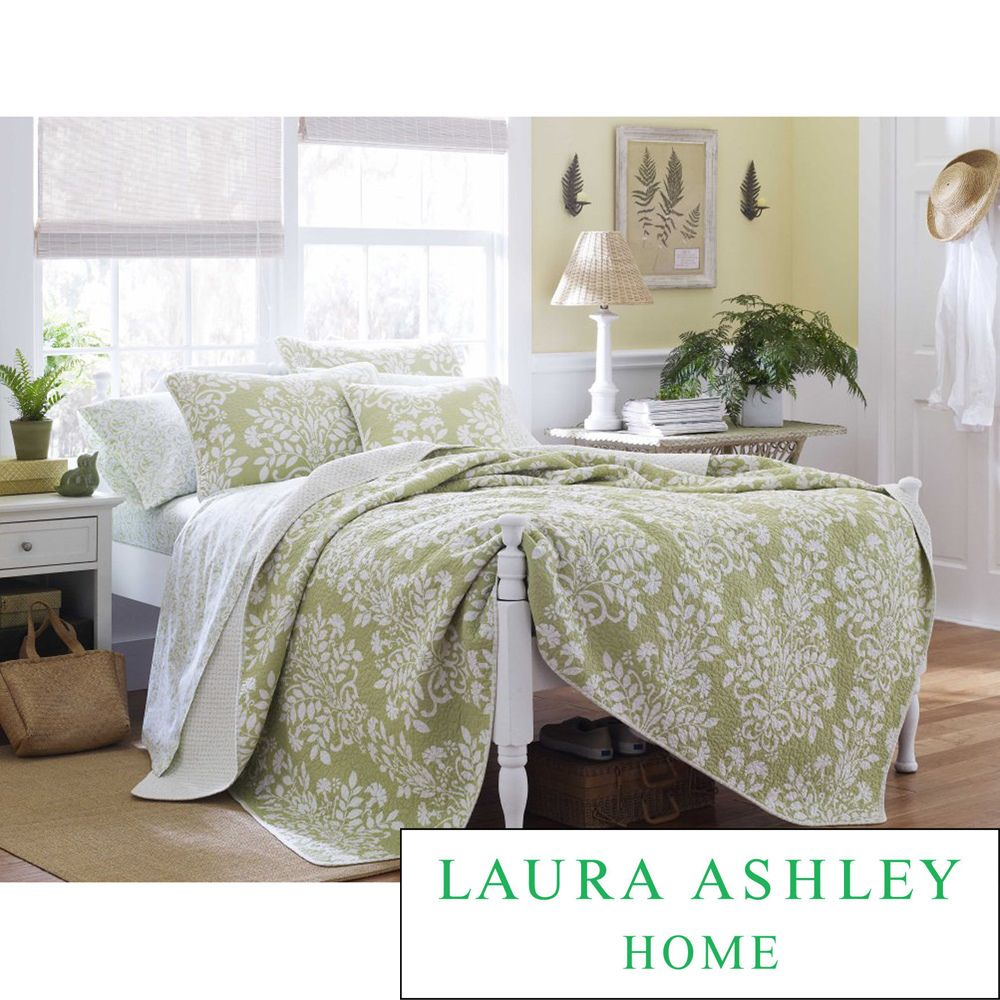 Laura Ashley Rowland Sage 3 Piece Quilt Set Twin Green